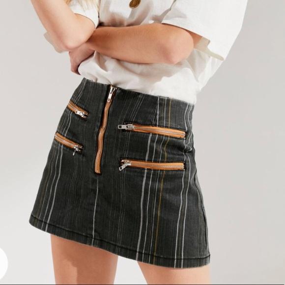 3bae124fec Urban Outfitters Skirts | Bdg Striped Contrast Zipper Mini Skirt ...